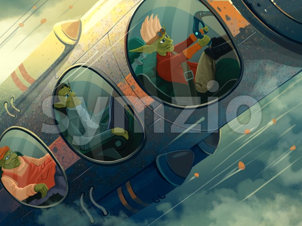 Spaceship blasting off, close up. Passengers and pilot seat in the plane. Digital background raster illustration. Stock Photo