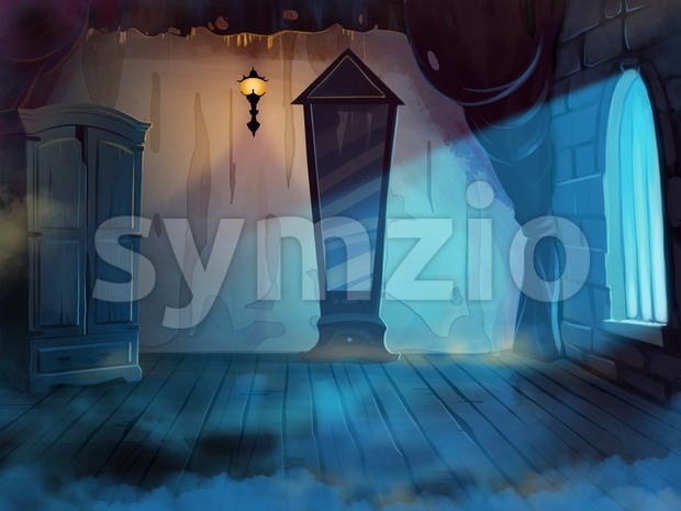 Mysterious Room Interior with a Mirror and Wardrobe. Misty midnight. Digital background raster illustration. Stock Photo