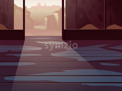 Wild West Empty Room Interior with a City Houses on backdrop. Digital background raster illustration. Stock Photo
