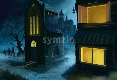 Town Street at Midnight. Houses, cemetery, street. Digital background raster illustration. Stock Photo