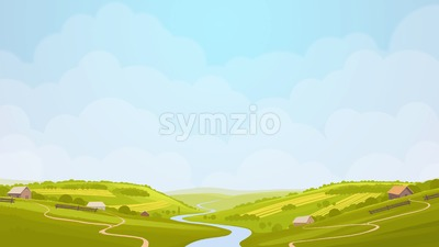 Green countryside view in the sun. Summer day in village, fields. Digital background raster illustration. Stock Photo