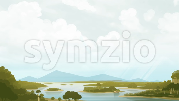 Green savanna with river and mountains. Relaxing landscape painting. Digital background raster illustration. Stock Photo