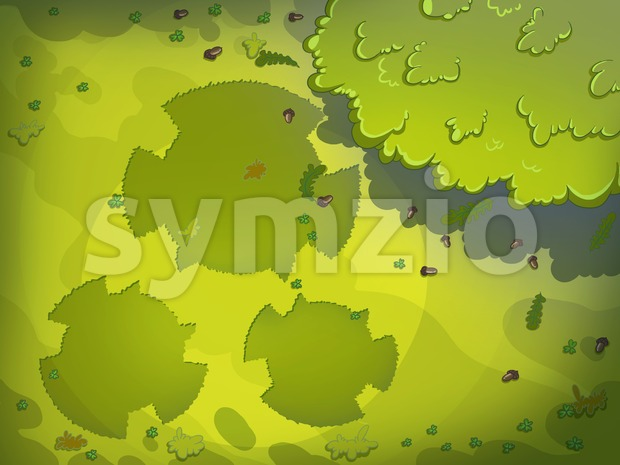 Green Tracks on Meadow's Grass. Digital background raster illustration for kids book. Stock Photo
