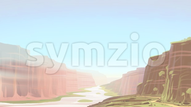 Canyon with river landscape. Digital background raster illustration. Stock Photo