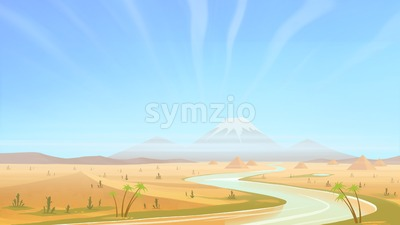 Clear day in the desert. Walk along the desert river. Digital background raster illustration. Stock Photo