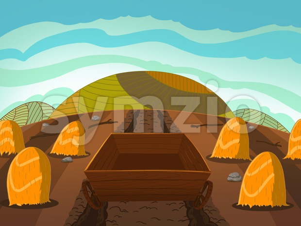 Empty wooden cart on the corn field full of sheaves of wheat. Digital background raster illustration for kids book. Stock Photo