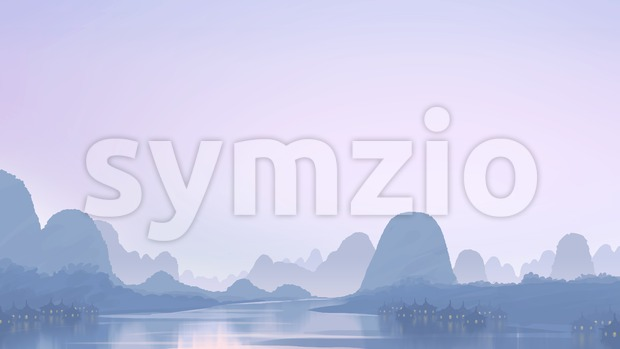 View of the village in the twilight. Shadows on the river. Digital background raster illustration. Stock Photo