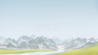 Spring hiking in the mountains. Green valley along with the mountains. Digital background raster illustration. Stock Photo