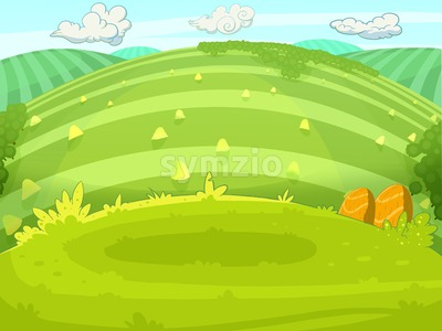 Country walk across the fields towards horizon line. Digital background raster illustration. Stock Photo