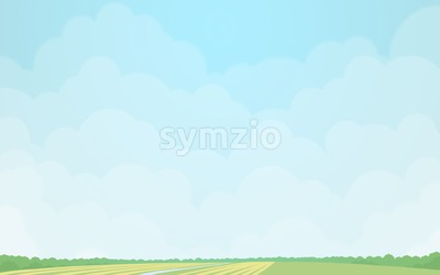Green fields under the cloudy sky. Digital background raster illustration. Stock Photo