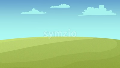 Wide green fields under the cloudy sky. Digital background raster illustration. Stock Photo
