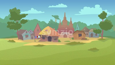 Small village surrounded by green fields, forest and garden. Digital background raster illustration. Stock Photo