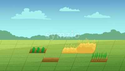 Computer game scene. Countryside walk along with the haystack and vegetable patches. Digital background raster illustration. Stock Photo