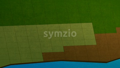 Computer game scene, map. Fields made of square tiles of various colors of green and brown. Digital background raster illustration. Stock Photo