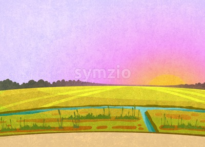 Purple sunset in the fields. Landscape with a small river and some reeds. Digital background raster illustration Stock Photo