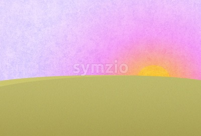 Sunset on the purple pink sky. Green meadow, field. Digital background raster illustration. Stock Photo