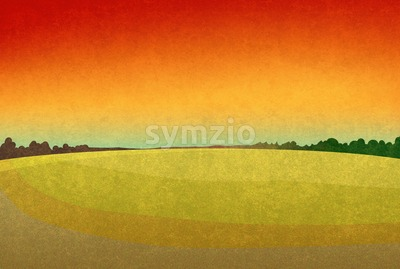 Sunset in the fields. Landscape with red sky and dark green forest silhouette in the distance. Digital background raster illustration. Stock Photo