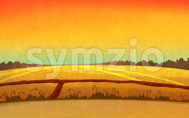Sunset in the fields crossed by small paths. Landscape with orange sky and dark brown forest silhouette in the distance. ...