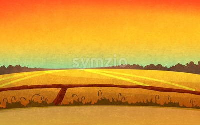 Sunset in the fields crossed by small paths. Landscape with orange sky and dark brown forest silhouette in the distance. Digital background raster Stock Photo