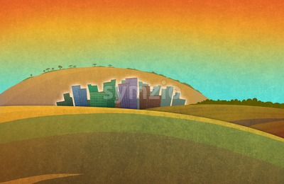 Sunset in the fields. Landscape with orange sky city houses silhouette in the distance. Digital background raster illustration Stock Photo