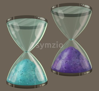 Colored sand clock. Teal and purple sands in the glass. Time goes by so slowly.  Digital background raster illustration. Stock Photo