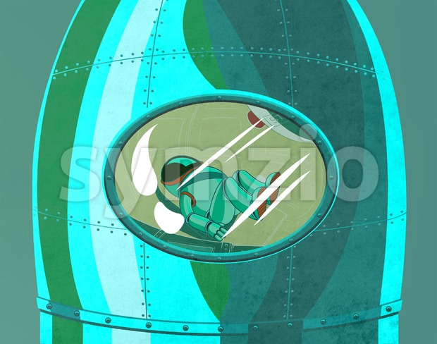 Cosmonaut in the rocket cockpit close up. Space voyage to the planets. Digital background raster illustration. Stock Photo