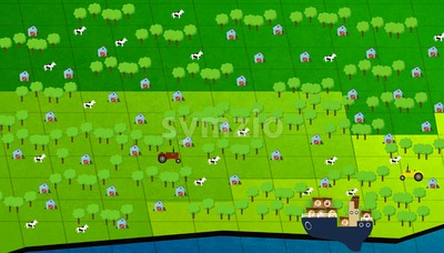 Agriculture. Farm cows, tractors and barns on the green lawn. Table game. Digital background raster illustration Stock Photo