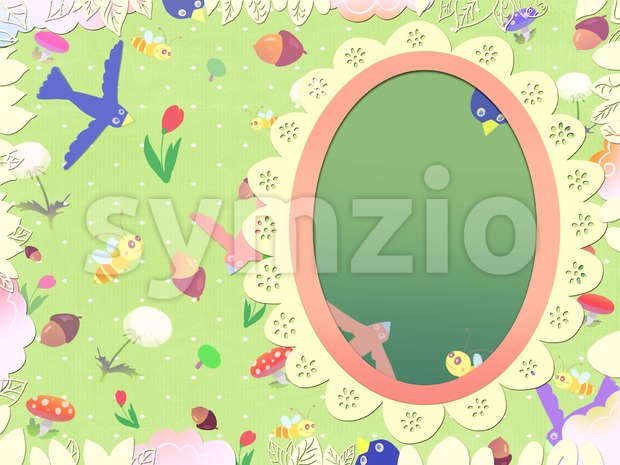 Fairy tale magic mirror. Kids book picture. Postcard drawn in the childish style. Digital background raster illustration. Stock Photo