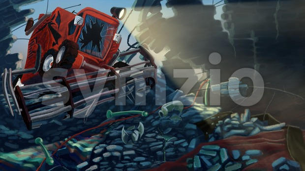 Combine Harvester broke a wall made of bricks. Digital background raster illustration. Stock Photo