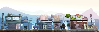 City street with houses on one side of the road. Digital background raster illustration. Stock Photo