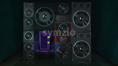 Audio system with display and a lot of speakers, big and small. Digital background raster illustration. Stock Photo