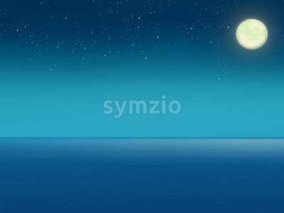 Sea at night. Full moon. Starry sky Digital background raster illustration. Stock Photo