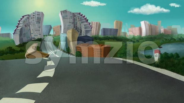 City view on a sunny day. Digital background raster illustration. Stock Photo