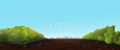 Country walk alone bushes towards mountains. Digital background raster illustration. Stock Photo