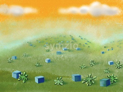 Green meadow with cubes and plants under the yellow sky. Digital background raster illustration. Stock Photo