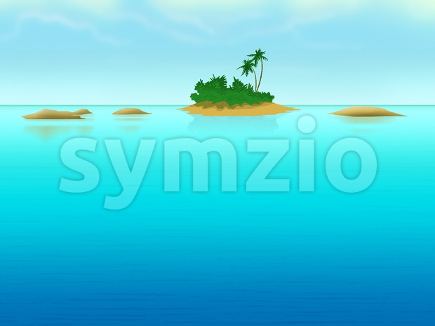 Lonely island with palm-trees in the sea. Digital background raster illustration. Stock Photo