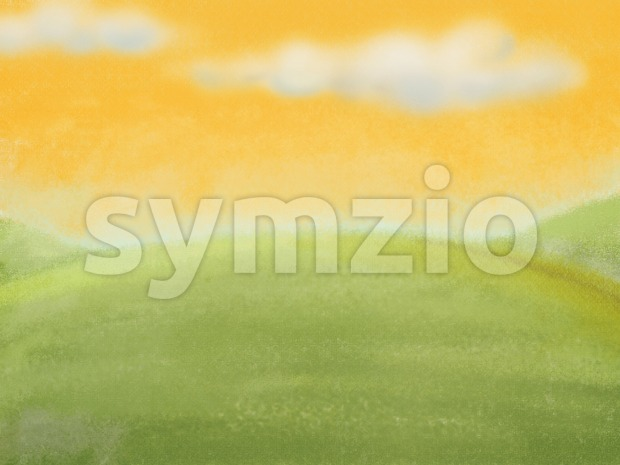 Pastel background, meadow with clouds on the yellow sky. Digital background raster illustration. Stock Photo
