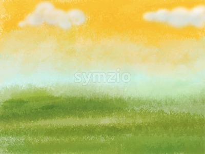Green meadow with yellow sky and clouds. Digital background raster illustration. Stock Photo
