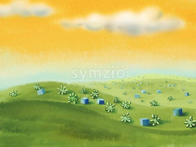 Yellow sky with green meadow with cubes and plants. Digital background raster illustration. Stock Photo