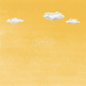 Clouds on yellow sky. Digital background raster illustration. Stock Photo