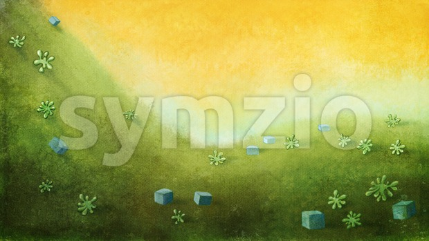 Yellow sky with green hill with cubes and plants. Digital background raster illustration. Stock Photo