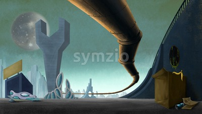 Fantastic city on an alien planet with pipeline. Digital background raster illustration. Stock Photo