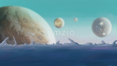 Galaxy. Backdrop of planets. Digital background raster illustration. Stock Photo