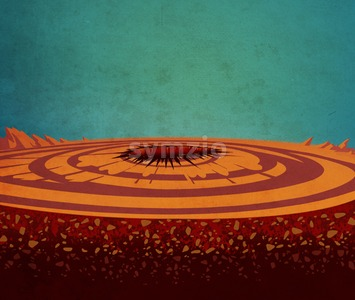 Orange planet after the launching of a spaceship. Science fiction digital background raster illustration Stock Photo