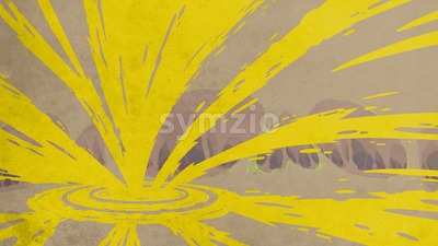 Apartment renovation. Yellow paint splashes on the gray backdrop. Digital background raster illustration. Stock Photo