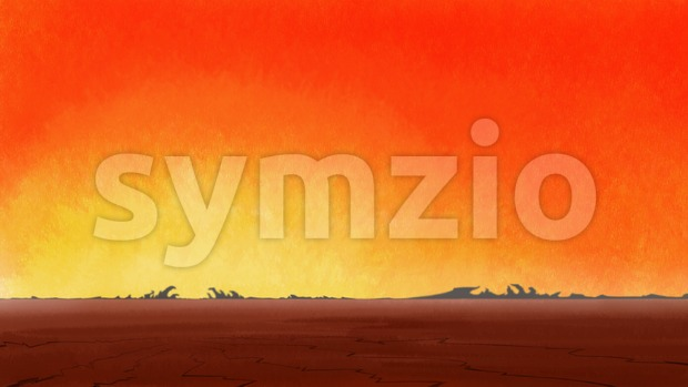 Sunrise in lonely drought cracked desert. Digital background raster illustration. Stock Photo