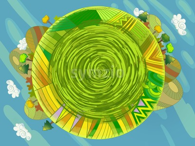 Earth Day Greeting Card cartoon style. World is Round. Digital background raster illustration for kids book. Stock Photo