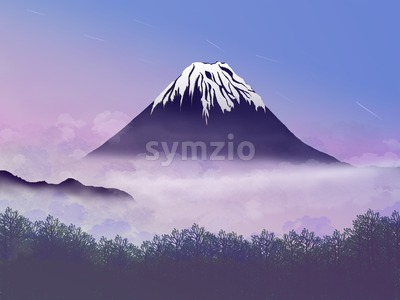 Lonely Mountain and a Forest in the Distance on a Foggy Day. Digital background raster illustration. Vacation holiday card image. Stock Photo