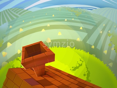 Landscape view with Hills, Meadows and House with Chimney. Digital background raster illustration for kids book. Stock Photo
