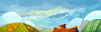 Landscape Panorama with Hills, Meadows and House with Chimney. Digital background raster illustration for kids book. Stock Photo